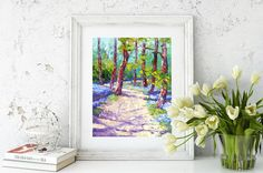 Impressionist Oil palette knife painting Bluebell Wood, English landscape,  Impressionist Palette Knife Oil painting, approx. 10x12 inch by artbymarion