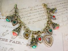 Charm Bracelet All Vintage Pieces One Of A by VictoriannaCharmers