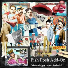 Tumble Fish Studio's Pish Posh Add On digital image kit at MischiefCircus.com . . . includes 4 printable jpg collage sheets AND around 50 individual png images for digital or cut and paste collage, journaling, scrap, and mixed media work.