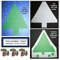 """""""Tree-mendous"""" Work Letter and Number Puzzles BUT fix mistake on the trunk of the white tree puzzle.missing one column of three on the trunk to get to the number just remember to add that column by hand before reproducing. Skip Counting Activities, New Years Activities, Winter Activities, Winter Games, Alphabet Learning Games, Alphabet Activities, Craft Activities, Snowman Crafts, Christmas Crafts"""