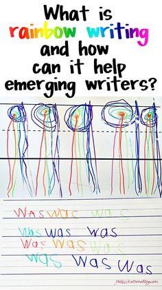 What is Rainbow Writing and How Does It Help Emerging Writers? I did not understand how rainbow writing was effective or why so many of my host teachers in the past use it before reading this article. Kindergarten Writing, Kindergarten Literacy, Early Literacy, Teaching Writing, Preschool Activities, Teaching Biology, Teaching Resources, Pre Writing, Writing Skills