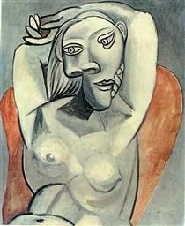 """Woman Sitting in Red Armchair"".Artist: Pablo Picasso Completion Date: 1939 Style: Surrealism Period: Neoclassicist & Surrealist Period Genre: nude painting (nu). Kunst Picasso, Art Picasso, Picasso Paintings, Georges Braque, Spanish Painters, Illustration, Famous Artists, Painting & Drawing, Line Art"