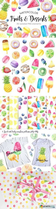 Watercolor Fruits&Desserts Set  stock images