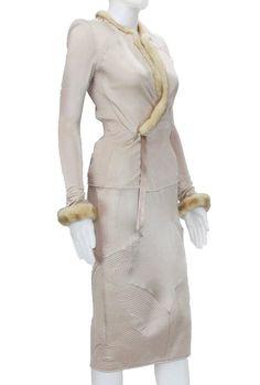 Tom Ford for Yves Saint Laurent F/W 2004 Nude Silk Mink Skirt Suit