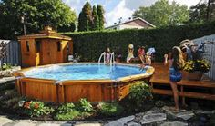 Semi Inground Pools for Your Magnificent Backyard: Wooden Style Cheerful Children Stony Path Semi Inground Pools
