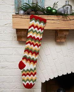 Best Free Crochet » Free Zigzag Stocking Crochet Pattern from RedHeart.com