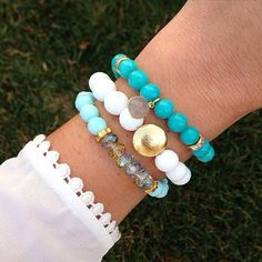 The Regina Bracelet Stack    Each hand-strung bracelet is constructed with extra thick, durable stretch cord - please select your size and color at