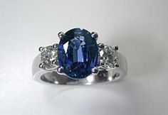 Oval Sapphire Diamond Engagement Ring 3.68ct 18kt by blueriver47, $4680.00