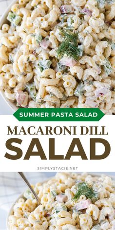 Macaroni Dill Salad - Whip up this easy pasta salad in no time to serve at your summer BBQs! Fresh dill and radishes give it an extra zip of flavor. Summer Pasta Salad, Easy Pasta Salad, Summer Salads, Summer Bbq, Quick Pasta Recipes, Healthy Salad Recipes, Potluck Recipes, Yummy Recipes, Side Dishes Easy
