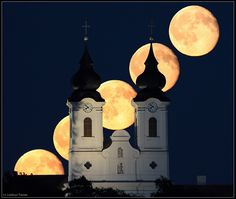 The Moon rises behind the famous Archabbey of Tihany, a village on the northern shore of Lake Balaton, Hungary. Natural Architecture, Art And Architecture, Over The Moon, Stars And Moon, The Moon Tonight, Business Woman Successful, Hungarian Embroidery, Heart Of Europe, Good Night Moon