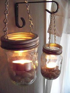 Set of 2 - DIY Hanging Mason Jar Luminary Lantern Lids
