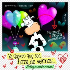 vaca Flora con globos de cumpleaños y amor © ZEA www.tarjetaszea.com