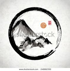 Mountains in black enso circle hand-drawn with ink in traditional Japanese style sumi-e on rice paper. Sealed with decorative stylized stamps.
