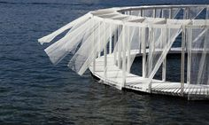 Those who want to relax on this floating wooden pavilion in Malta can reach it…