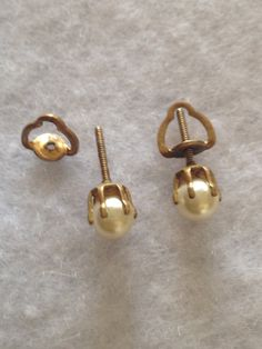 Vintage Single Pearl Stud Gold Screw Back by CoCoBlueTreasures,