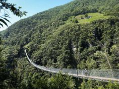 """Tibetan bridge """"Carasc"""" west of Bellinzona. The 270 long bridge was built by the foundation Curtútt-S. Bernard and rises 130 m above the ground (infos for German/French and Italian) Switzerland, Foundation, German, French, Building, Weather Forecast, Communities Unit, Deutsch, German Language"""