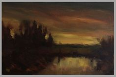 #59: Landscape, Late Twilight (Oil on Canvas Panel, approx A3 size)
