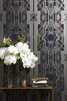 "A stunning Art Deco wallpaper by Academy Award film, stage and interior designer Catherine Martin, who is famous for her work on ""The Great Gatsby"" movie with Leonardo DiCaprio  Catherine Martin Metropolis wallpaper in the Marcasite colorway  The wallpaper comes in 20.5/52 cm wide and 11 yard / 10 m"