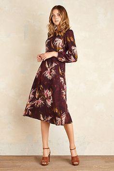 Anthropologie EU Painted Floral Midi Dress, Purple