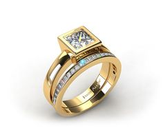 18k Yellow Gold Bezel Set Princess Cut Solitaire Ring