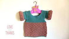 Maglia bimba in cotone all'uncinetto, maglia rosa antico e indaco fatta a mano per bambina con maniche a sbuffo, raffinata PRONTA DA SPEDIRE