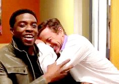 Robert Downey Jr. and Chadwick Boseman <<< Omg, RDJ is like a little kid in this! I love this man..