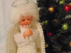 Christmas Tree Topper, Christmas Decorations,  Angel Table Decor, 1960's ,White Felt ,White Embroider Trim Halo    CF by simpleholidaydecor on Etsy