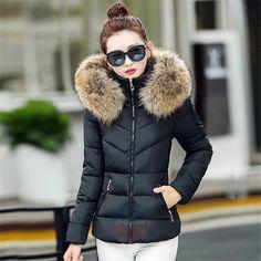 6dd066fe390f Artsivaris Women Winter Jacket Fur Hoodie Parka Outwear Warm Padded Slim  Coat