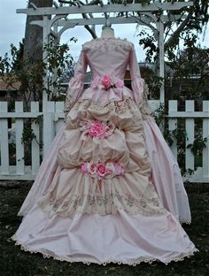 For my Marie Antoinette party.  Silk gown with custom-dyed venise lace overlay.  Flowers and rosebuds in the detachable bustle.  $1,450.00