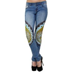 She is often seen with spectacles slipping down her nose, lost in a thick book in a public library or a park. Designer Peacock Grandeur Jeans for the women who are wise and brainy. Order now from http://bit.ly/22y7MQS
