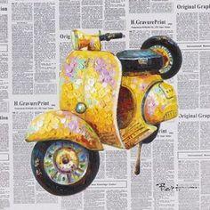 schilderij scooter 50x50