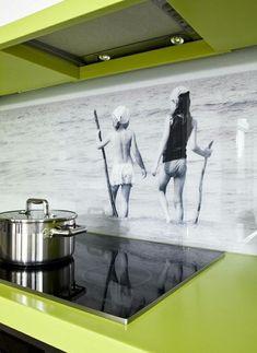 Mehrteilige, sonnengelbe #Glas- #Küchenrückwand von ihrer ...