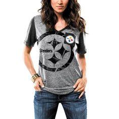 Women's Majestic Gray Pittsburgh Steelers Break The Limit V-Neck Tri-Blend T-Shirt