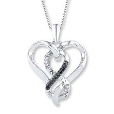 Diamond Heart Necklace 1/10 ct tw Black/White Sterling Silver