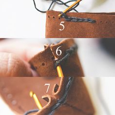 Knitting With Leather - Steps 5-6 Close Ups