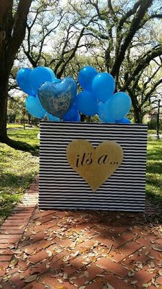 Gender reveal box. Photo-shoot Black and White strips with gold glitter heart.