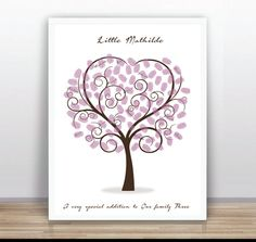 Wedding Printable Thumbprint Tree Guest Book Poster by ByYolanda