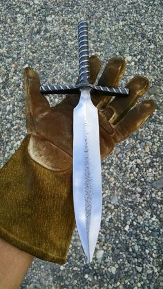 Forged Medieval Rebar Dagger is made from 3/4 rebar 14'' long overall, 1.25 wide blade that's 7.5'' long. 1/2'' rebar, drifted cross guard that's 5'' wide. The blade is heat treated and the handle has a black oxide oiled finish. https://www.etsy.com/listing/455882360/forged-medieval-rebar-dagger