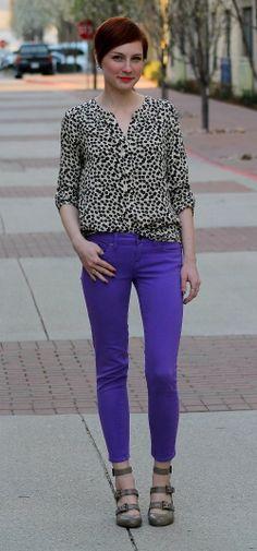 Purple skinny cropped jeans