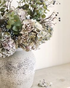Faux faded lavender hydrangeas, mixed with blueberries and eucalyptus to create the perfect autumnal arrangement. Bunch Of Flowers, Faux Flowers, White Flowers, White Flower Arrangements, Vase Arrangements, Vases, Neptune Home, Neptune Kitchen, Hydrangea Vase