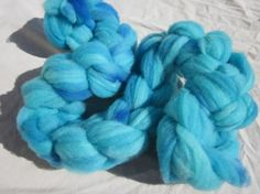 Targhee Rambouillet Roving Blue spinning by RanchingTradition, $20.00