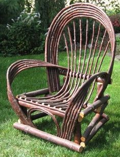 Twig grandfather chair. #Weaving #Willow #Chair