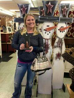 Tall wood snowman wood craft and human
