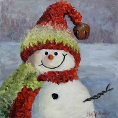 Cheri and I met through our interest in each others products on Etsy. She was inspired by my snowmen and these adorable paintings are the result. She has also painted the most adorable cattle paint...