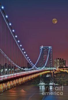 Moon Rise Over The George Washington Bridge.  Susan Candelario. New York City NYC