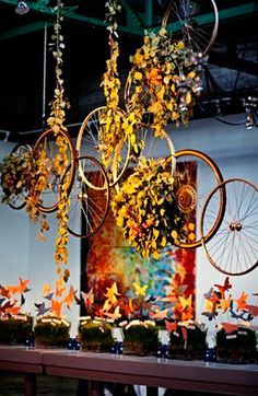 hanging bicycle wheel floral centerpiece