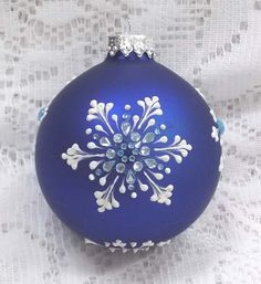 Rich Blue  3D White Snowflakes MUD Ornament with Snowflake Bling 366 by MargotTheMUDLady on Etsy SOLD!