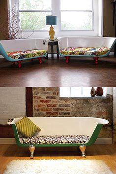 Convertir la antigua bañera en un sofa/ Make the old bathtub in a couch  #recycle design