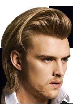 ベスト選択素敵なショットロックヘアスタイル男性ブラウンストレイトフルレース100% 人毛 ウィッグ