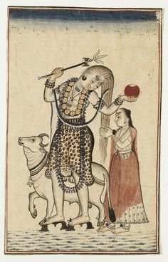 Shiva and Parvati ca.1740-1770, Mandi, India Painted in opaque watercolour on paper (via V&A Museum)